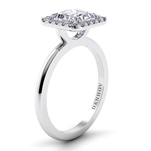 Per Lei Engagement Ring Setting LE104-PR, Pincess Cut Diamond, Halo Ring, Danhov's Ring, Engagement Ring