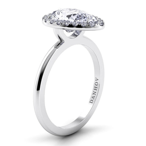 Per Lei Engagement Ring Setting LE104-PS, Halo Danhov's Ring, Engagement Ring, White Gold