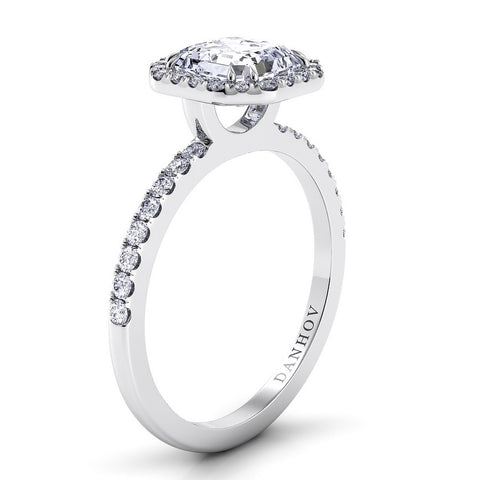 Per Lei Engagement Ring Setting LE105-AS, Asscher Cut Diamond, Halo Ring, Diamond Rind, Danhov's Ring White Gold