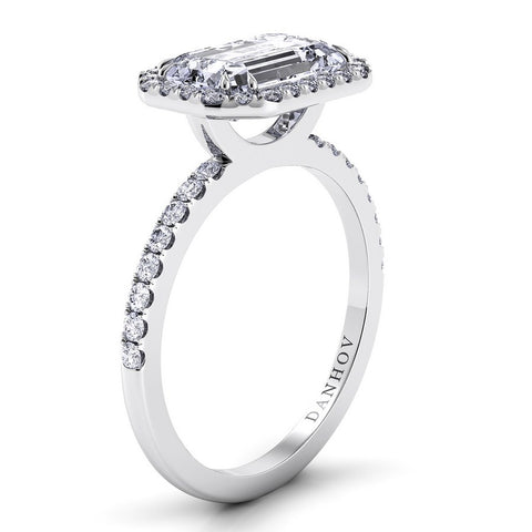 Per Lei Engagement Ring Setting LE105-EMEW, Emerald Cut Diamond, Halo Ring, Danhov's Ring, Romantic Ring