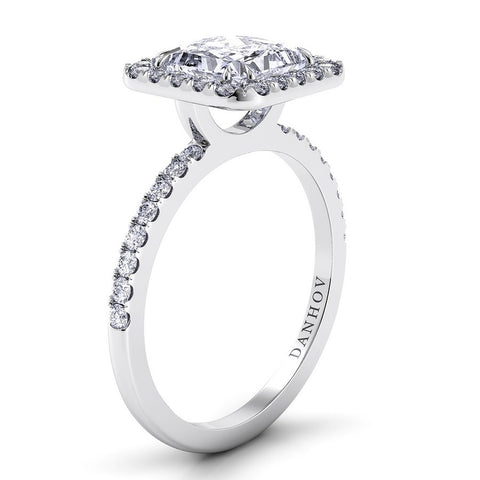 Per Lei Engagement Ring Setting LE105-PR, Pincess Cut Diamond, Engagement Ring, Halo Danhov's Ring, White Gold Ring