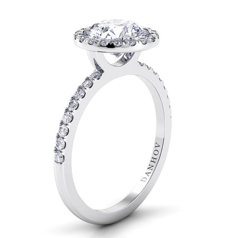 Per Lei Engagement Ring Setting LE105, Halo Ring, Danhov's Ring, White Gold