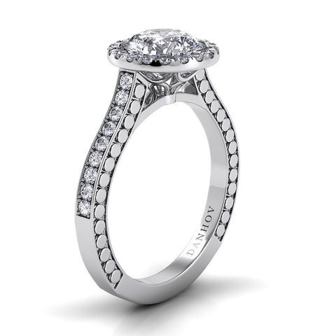 Tubetto Engagement Ring Setting TE124, Halo Diamond Ring, Round Diamond