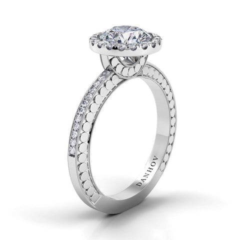 Tubetto Engagement Ring Setting TE125, Halo Ring, Round Diamond, Danhov's Ring