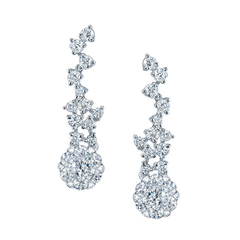 Hapy Diamond Earrings in 14k White Gold.
