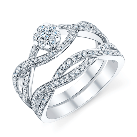 Artemis Bridal Set, Floral Engagement Ring and Wedding Band in White Gold