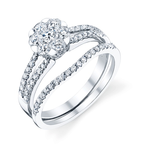 Eros Bridal Set, White Gold Engagement Ring And Wedding Band