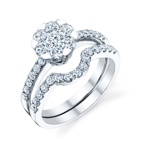 Oceanus Bridal Set, Diamond Engagement Ring and Wedding Band