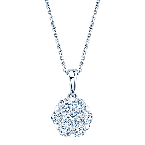 Athena Diamond Necklace in 14k White Gold