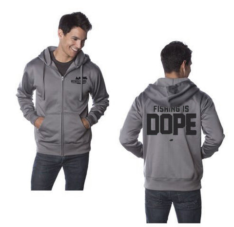 Fishing is Dope Logo Zip Up Tech Hoodie