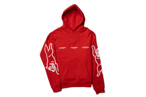 Ice Cream White Hoodie - Fiery Red