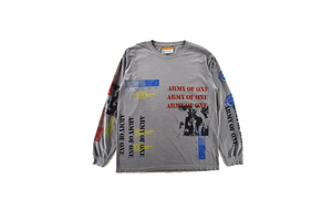 INDVLST 'Army of One: Hand Printed' L/S Tee - Grey