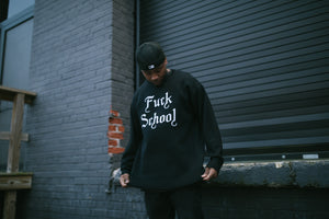 Born X Raised Fuck School Intarsia Sweater - Black