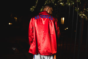 Politics x Mitchell & Ness 'As Usual' Satin Jacket - Red/Royal