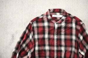 Mr.Completely Banded Collar Shirt - Red Shadow