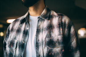 Purple Brand Bleached Flannel Shirt - Gray