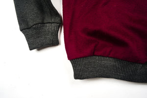 Rochambeau Crash Combo Crewneck - Maroon/Grey