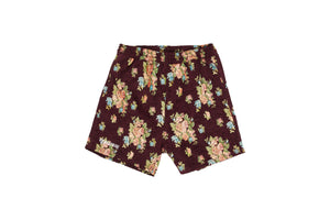 Pleasures Deja Vu Woven Floral Shorts - Maroon