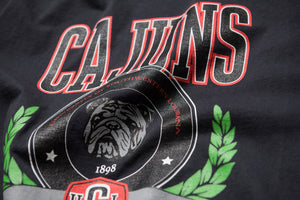 Politics Cajuns Crest Collegiate T-Shirt - Dark Grey/Red