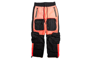 INDVLST Color Block Nylon Cargo Pants - Black/Orange