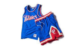 Politics x Mitchell & Ness Team Jersey - Royal/Red/Cream