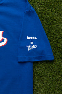 Beers. x Politics BASEketball 'Sports Fan' T-Shirt - Blue