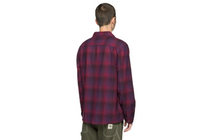 Stussy Sean Plaid L/S Shirt - Burgundy