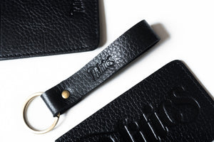 Politics Leather Keychain - Black