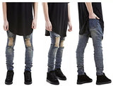 The United States High Street Tide Brand Knee Big Destroys Pure Black Washed Do Old Slim Feet Elasticity Jeans
