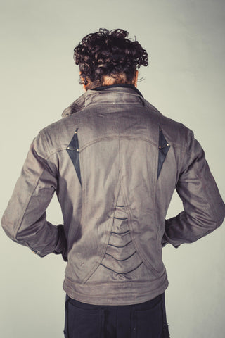 Alloy stretch denim and leather jacket - anahata designs