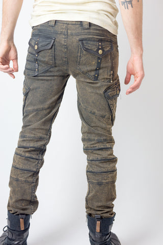 Chiseled stretch denim and leather Pants - anahata designs