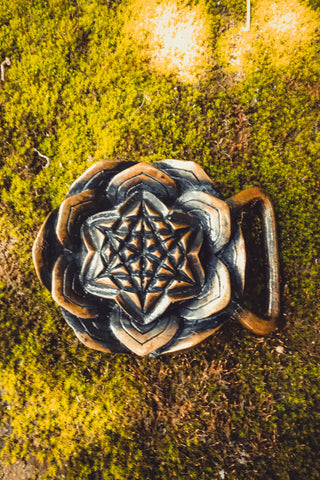 Brass Star Lotus belt buckle - anahata designs