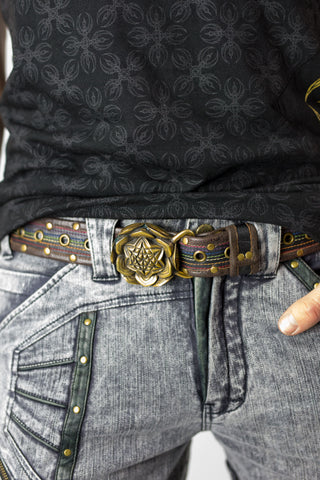 Rainbow leather belt - anahata designs