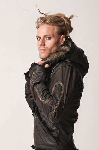 Rainbow Serpent mens cut leather jacket - anahata designs