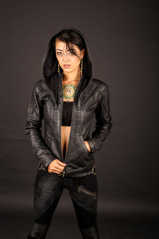 Singularity womens cut leather jacket