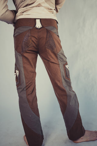 Hexawatt stretch denim and leather pants - anahata designs