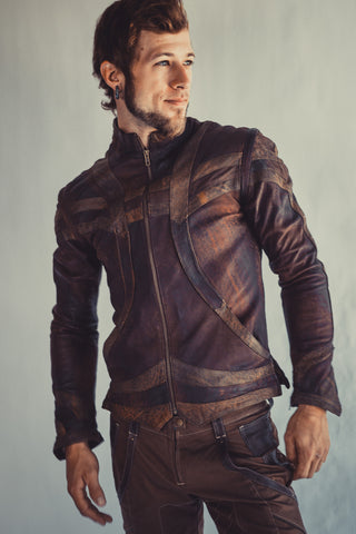 Taurid leather mens cut jacket - anahata designs