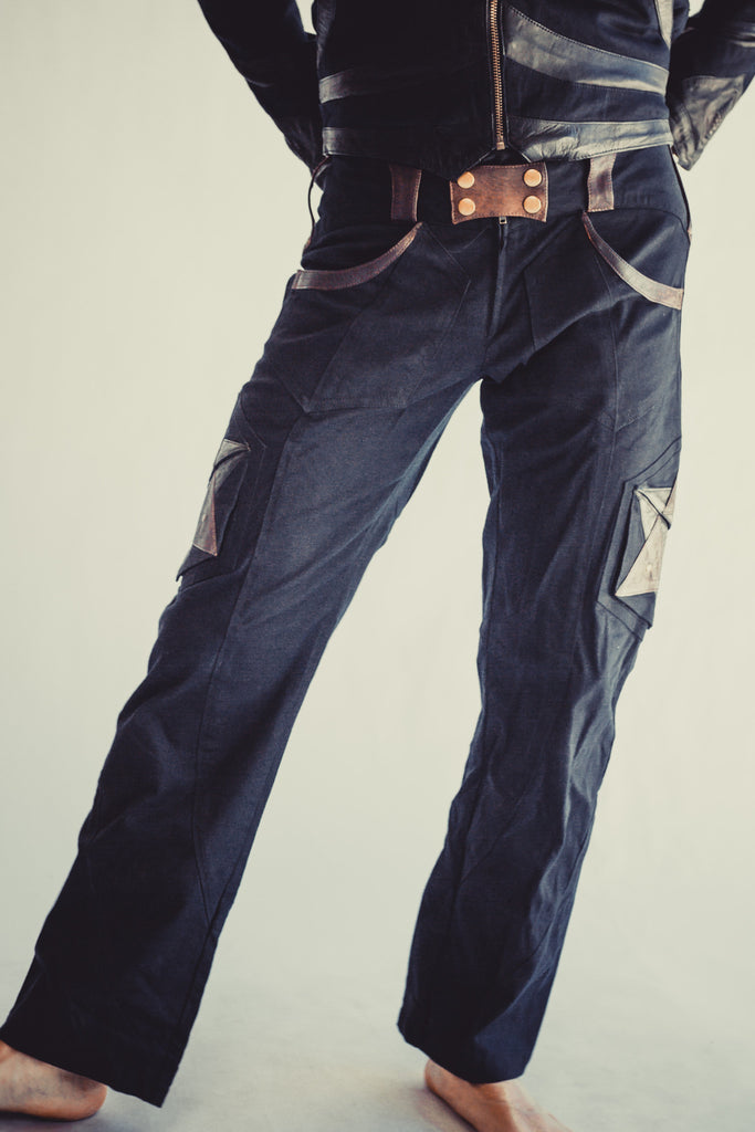 big collection most reliable best online Hexawatt stretch denim and leather pants