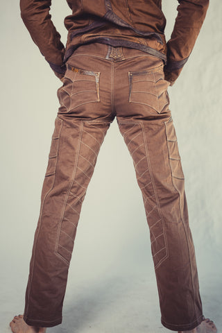 Newatu stretch denim and leather pants - anahata designs