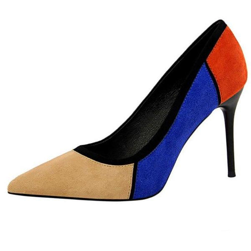 Blue Colorblock Pointy Pumps