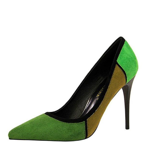 Green Colorblock Pointy Pumps