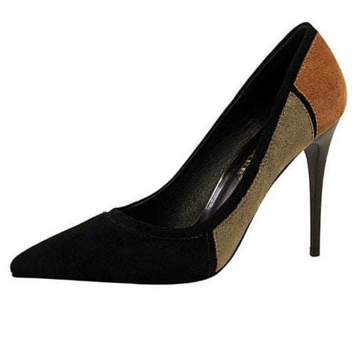 Black Colorblock Pointy Pumps