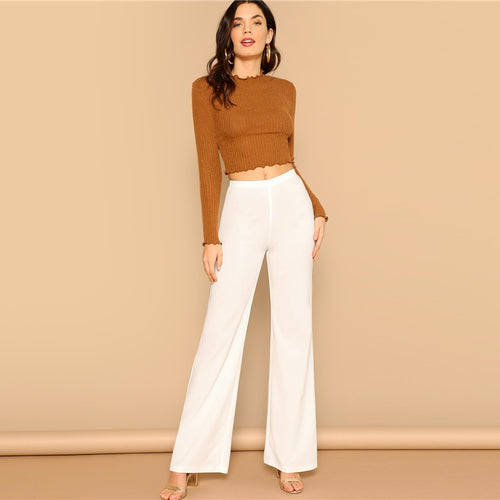 Straight Leg Pants With Elastic Waist