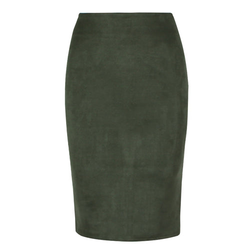 Faux Suede Highwaisted Midiskirt