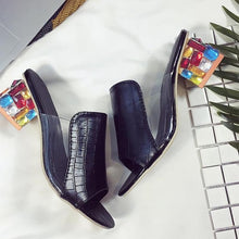 Load image into Gallery viewer, Black Rhinestone Vegan Mules
