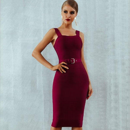 Sleeveless Bodycon Belted Dress