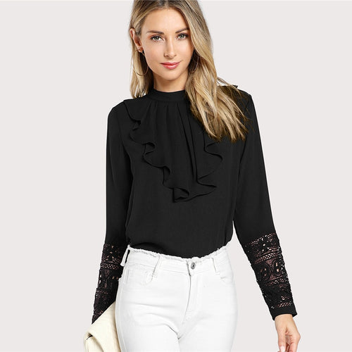 Black Ruffled Neck Blouse