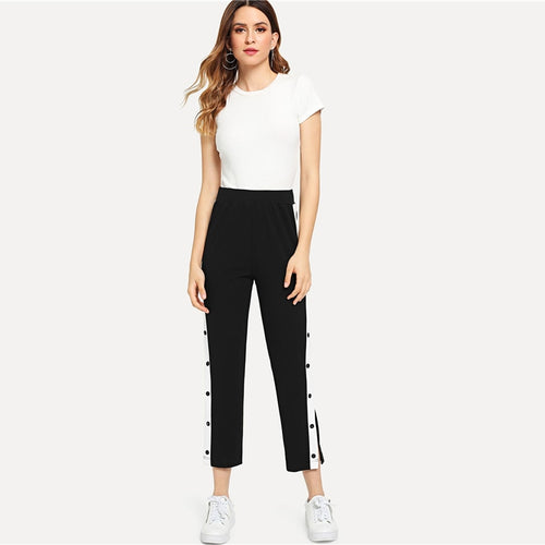 Sporty Striped Button Pants