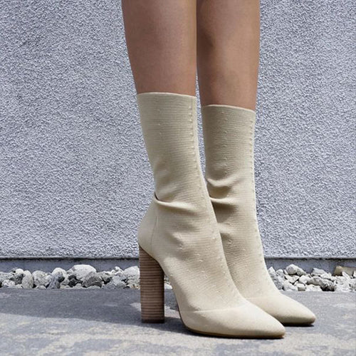 Wool Wooden Heel Stretch Boots