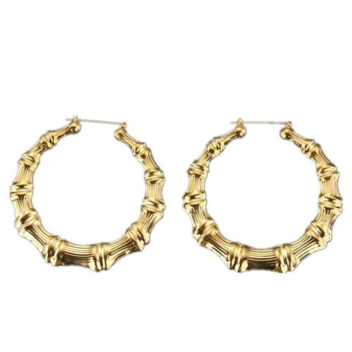 Gold Faux Bamboo Hoops